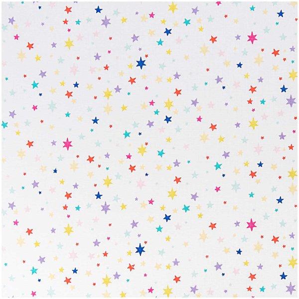 Rico Design Stoff Sterne weiß-mehrfarbig 50x140cm