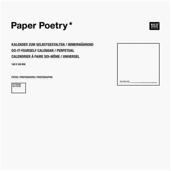 Paper Poetry Bastelkalender immerwährend weiß 16x16cm