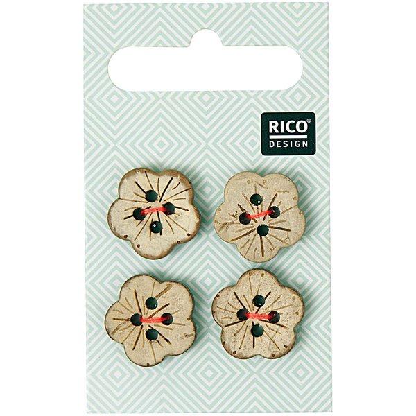 Rico Design Knöpfe in Blütenform 1,6cm 4 Stück