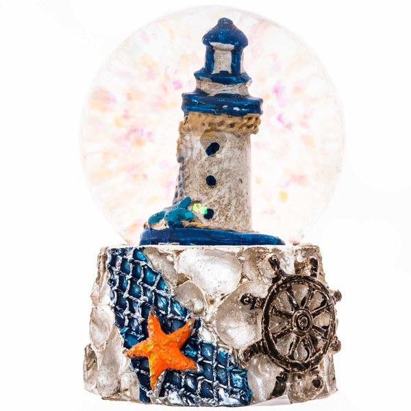 Schüttelkugel Leuchtturm blau-weiß 6,5cm