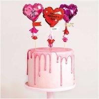 YEY! Let's Party Kuchentopper Folienballon-Herzen 3 Stück