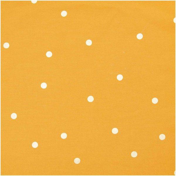 Rico Design Druckstoff Nature Matters Punkte senf-gold 50x140cm