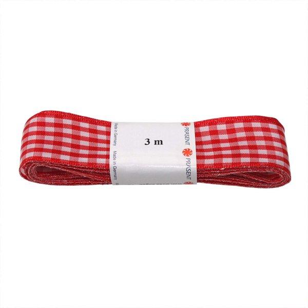PRÄSENT Strängchen Vichy rot-weiß 15mm 3m