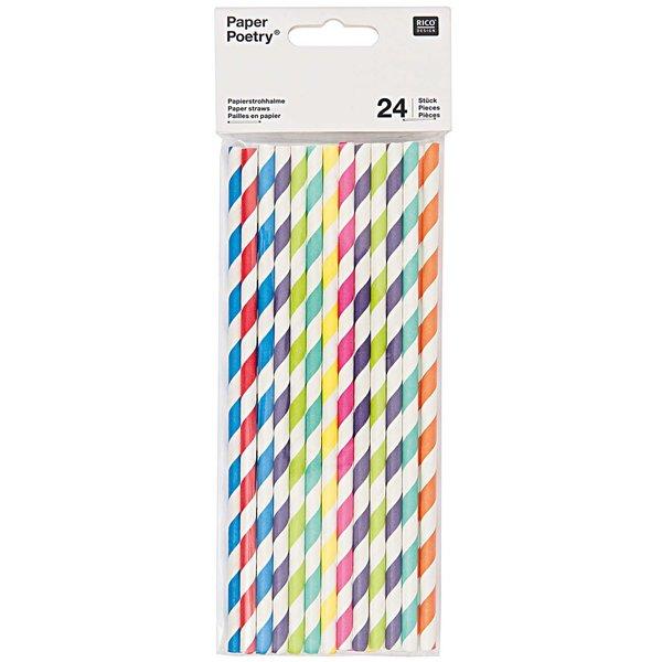 Paper Poetry Papierstrohhalme Mix mehrfarbig 24 Stück