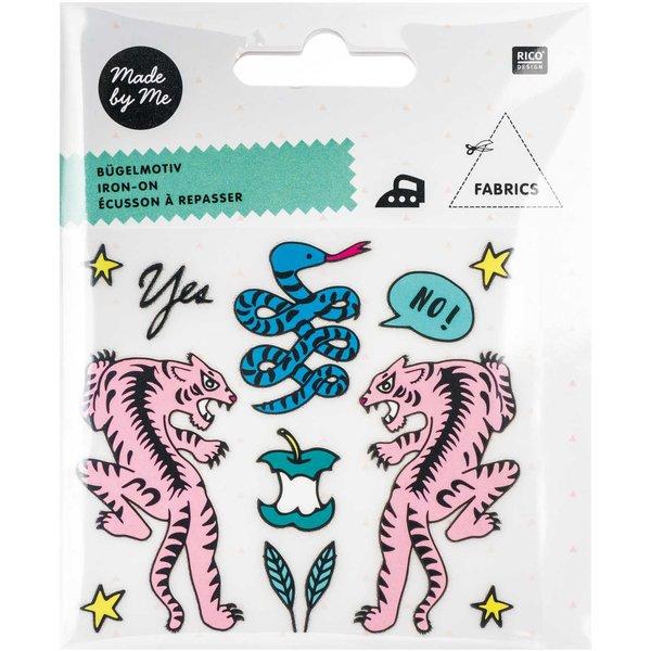 Rico Design Bügelmotivset Tiger-Schlange 12teilig