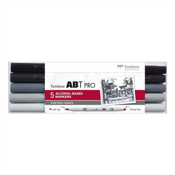Tombow ABT PRO Cold Grey Colours Alkoholbasierte Marker 5teilig