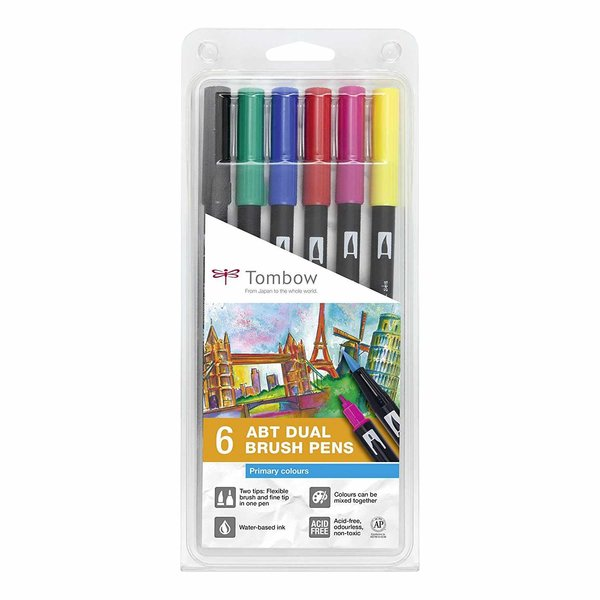 Tombow ABT Dual Brush Pen Primärfarben 6er Set