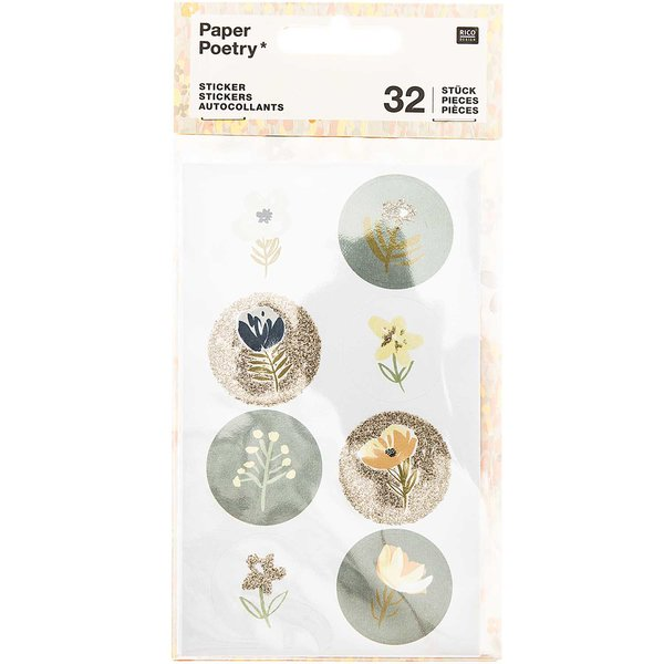 Paper Poetry Sticker Crafted Nature blau 32 Stück
