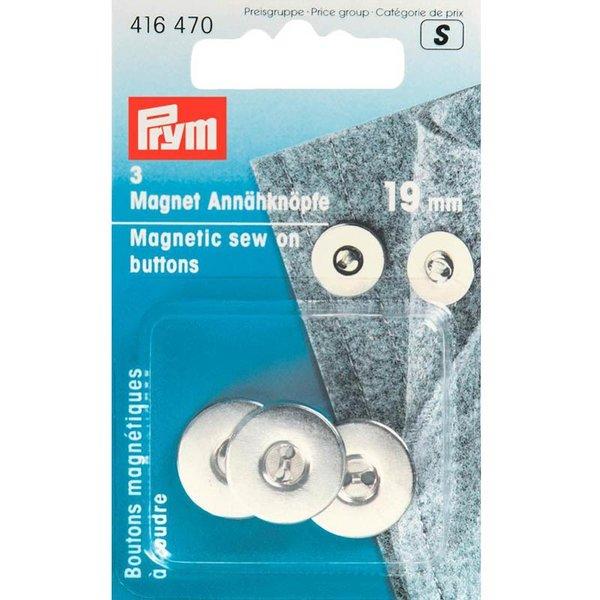 Prym Magnet-Annähknöpfe silber 19mm 3 Stück