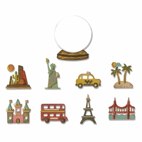 Sizzix Thinlits Die Set Tiny Travel Globe by Tim Holtz