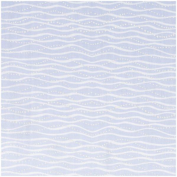 Rico Design Musselin-Druckstoff Mermaid Wellen hellblau Hot Foil 140cm