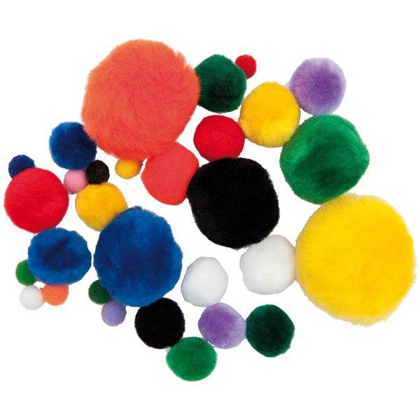 Rico Design Pompon mehrfarbig mix versch. Größen 30 Stück