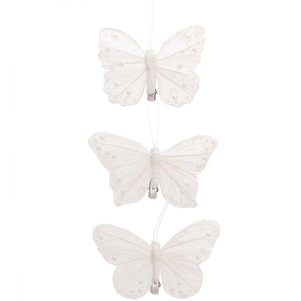 Schmeeterling Perlenbesatz am Clip weiß 9cm 3 Stück
