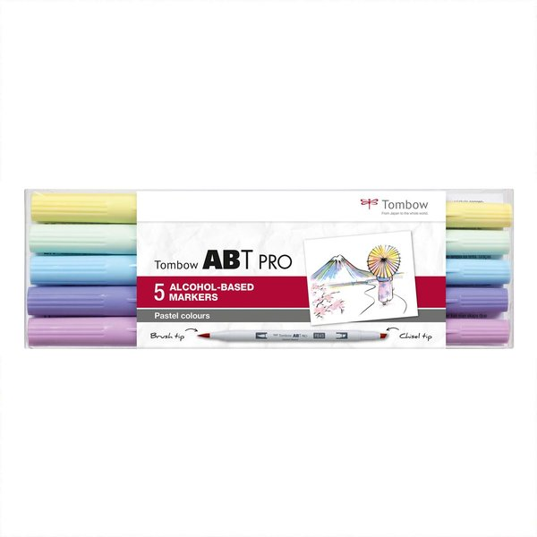 Tombow ABT PRO Pastell Colours Alkoholbasierte Marker 5teilig
