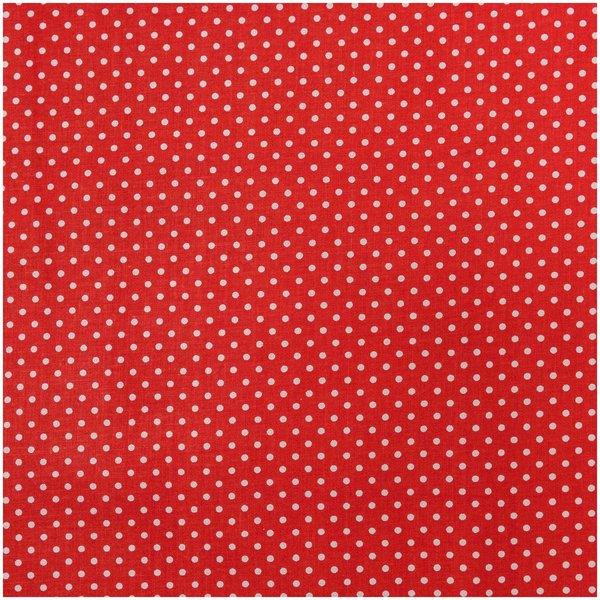 Rico Design Stoff Punkte rot-weiß 50x140cm