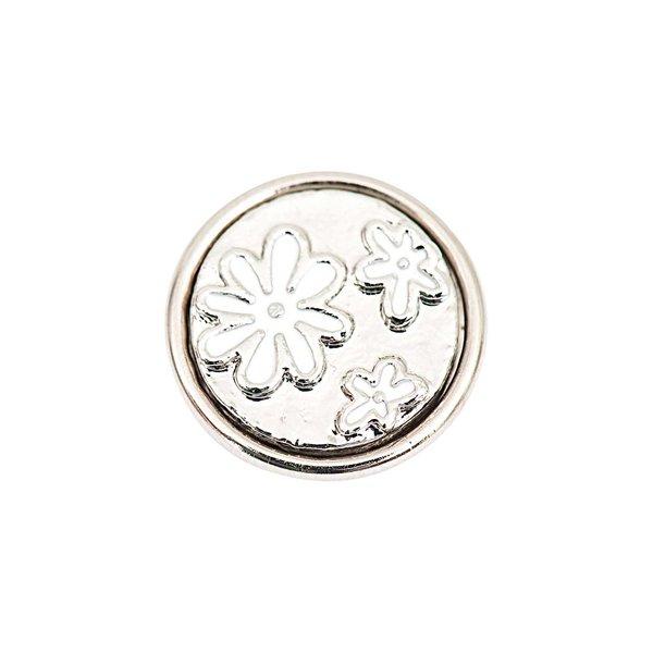 Rico Design Knopf Blumen silber-weiß 14mm