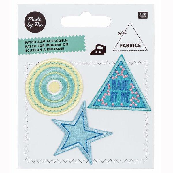 Made by Me Patches Kreis-Stern-Dreieck grün 3teilig zum Aufbügeln
