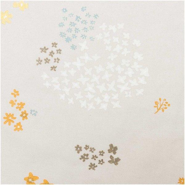 Rico Design Druckstoff Crafted Nature Blumen grau-metallic 50x140cm beschichtet