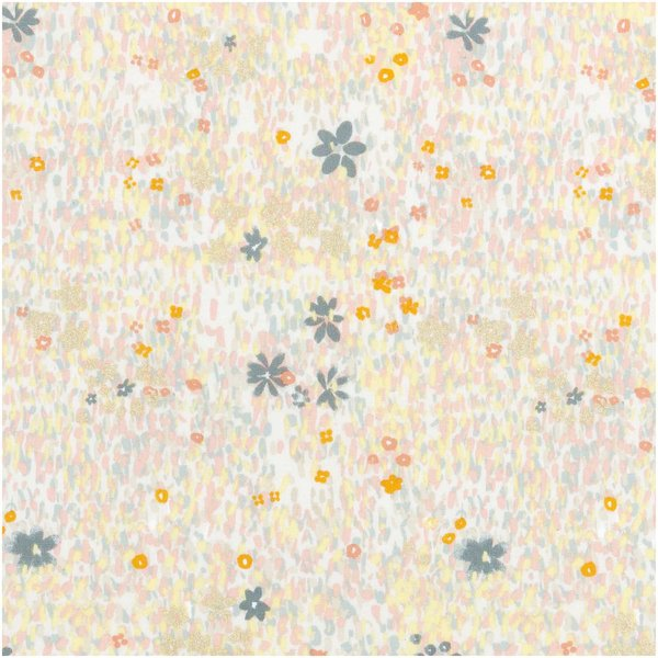 Rico Design Druckstoff Crafted Nature Blumenwiese grau metallic 50x140cm