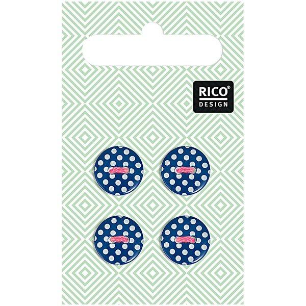 Rico Design Knöpfe dunkelblau gepunktet 1,2cm 4 Stück