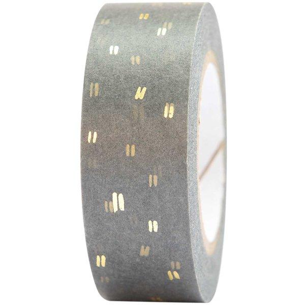 Paper Poetry Tape Struktur grau-gold 1,5cm 10m
