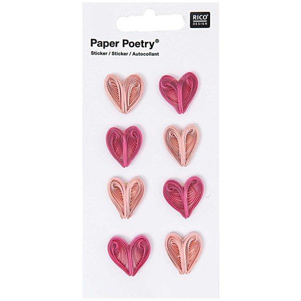 Paper Poetry Quilling Sticker Herzen rosa-pink