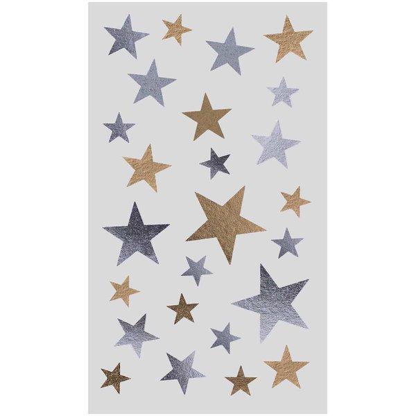 Paper Poetry Sticker Sterne Mix gold-silber 4 Bogen