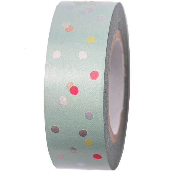 Paper Poetry Tape Punkte mint-irisierend 15mm 10m