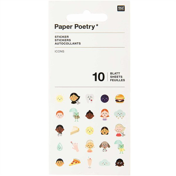 Paper Poetry Stickerbuch Icons 10 Blatt