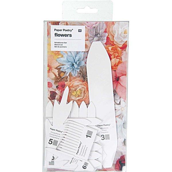 Paper Poetry Schablonenset für Chrysanthemen-Mohnblumen 11teilig