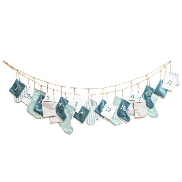 Adventskalender Beutel 1-24 stylisch mint-grau-weiß 260cm