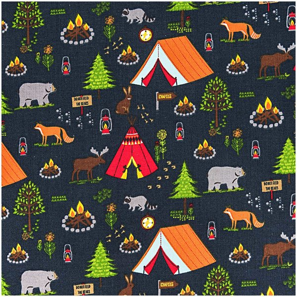 Rico Design Stoff Camping schwarz 140cm