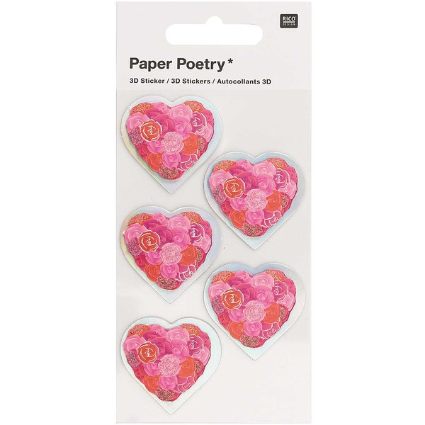 Paper Poetry 3D-Sticker Herzen mit Rosen rot 5 Stück