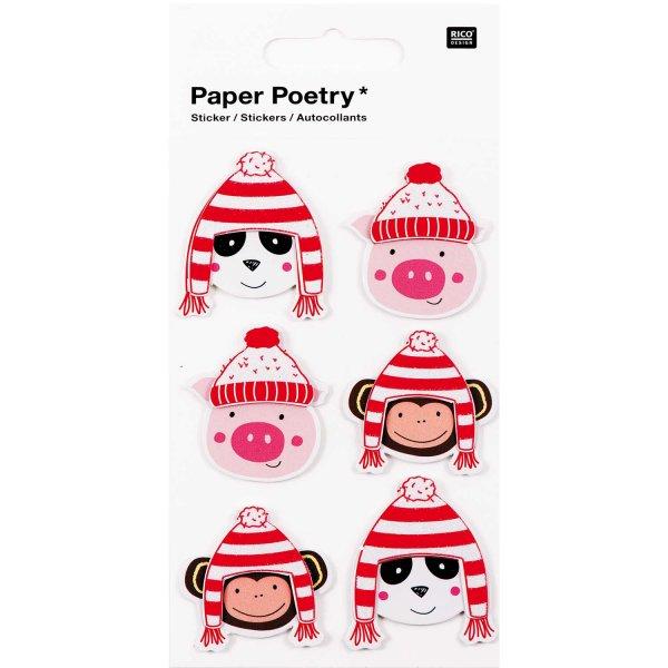 Paper Poetry 3D Sticker Tiere mit Mütze