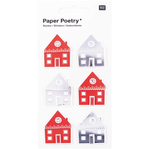 Paper Poetry 3D Sticker Häuser Hot Foil