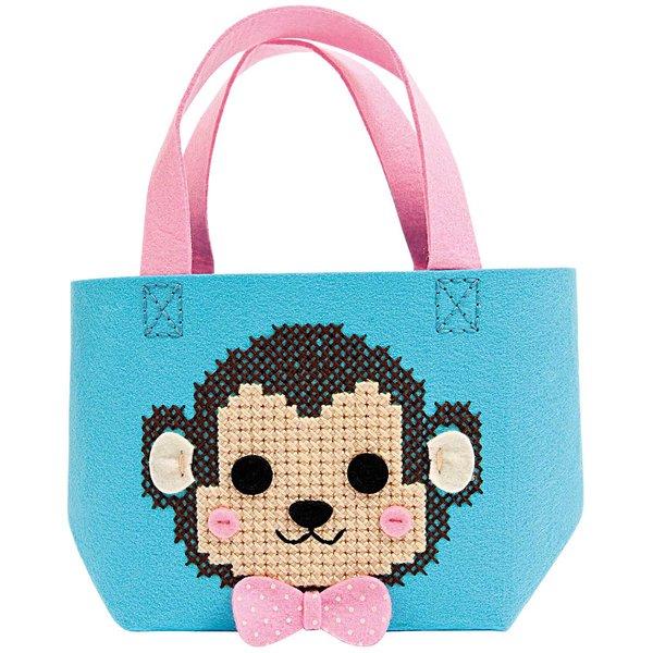 Rico Design Bastelset Kindertasche Affe türkis 16,5x16x11cm