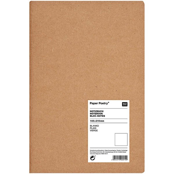 Paper Poetry Notizbuch A5 Kraftpapier blanko