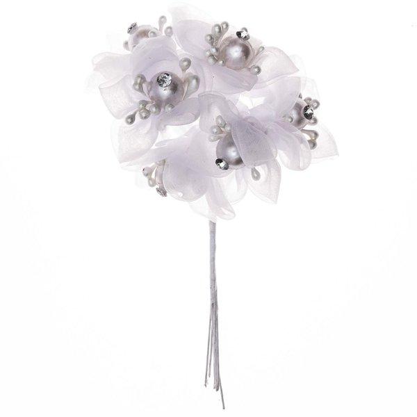 Blüten mit Perlen und Strass Organza weiß 6 Stück