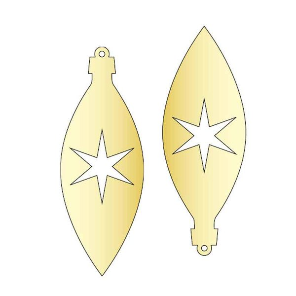 Rico Design Spiegel-Anhänger Zapfen lang gold 2 Stück