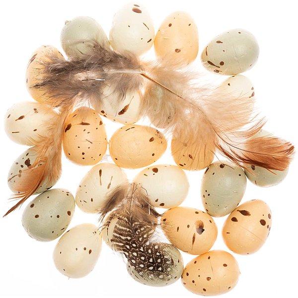 Ohhh! Lovely! Eier und Federn creme-blau 2,5cm 24 Stück