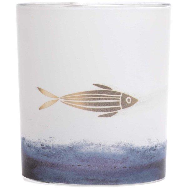 Teelichtglas Fisch weiß-blau 7,5x6cm