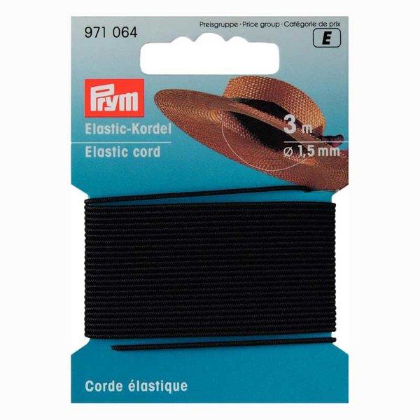 Prym Elastic Kordel Gummi schwarz 1,5mm 3m
