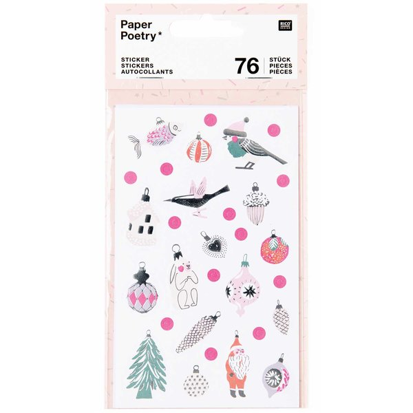 Paper Poetry Sticker Nostalgic Christmas pastell 76 Stück