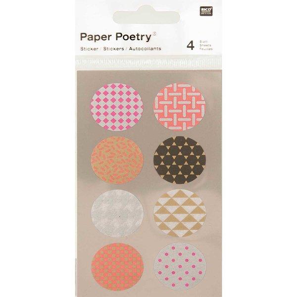 Paper Poetry Washi Sticker neon rund 4 Bogen