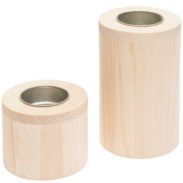 Rico Design Kerzenhalter aus Holz rund