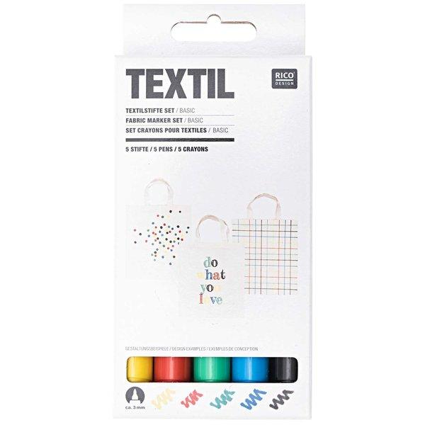 Rico Design Textilstifte basic 5 Stück