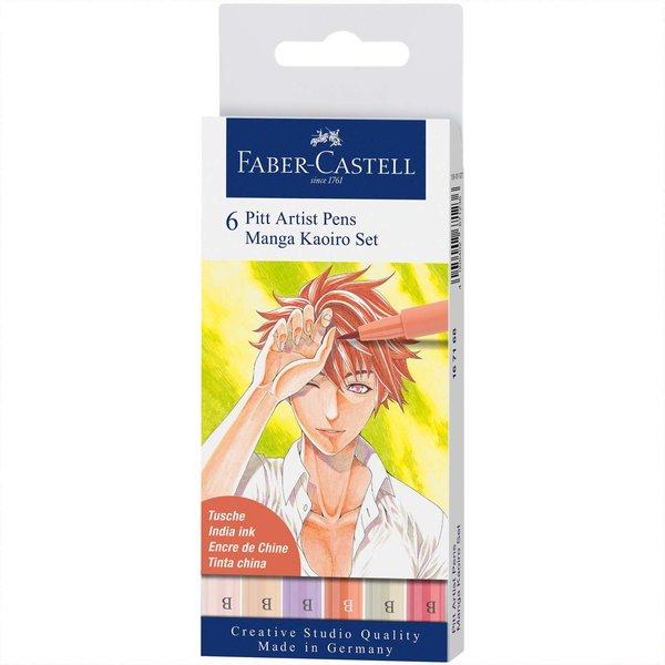 Faber Castell Pitt Artist Pen Manga Kaoiro Tuschestift-Set 6teilig