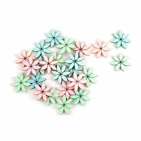 Blütenstreu pastellmix Ø=2cm Holz 24 Stück