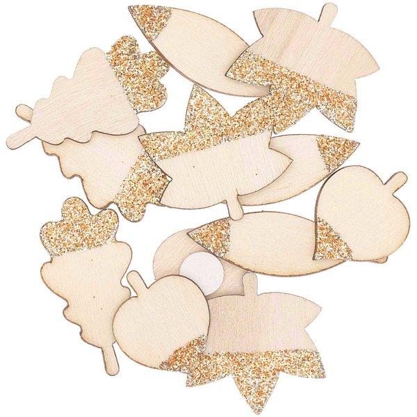 Ohhh! Lovely! Holzsticker Blätter Mix mit Glitter natur-roségold 48 Stück