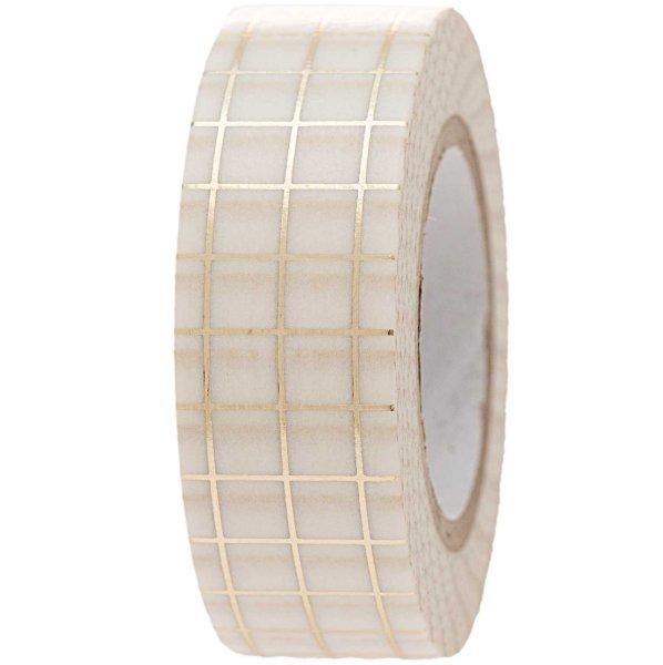 Paper Poetry Tape kariert weiß-gold 1,5cm 10m